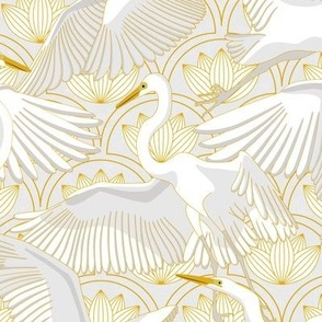 Herons Art Deco_Gold and Gray