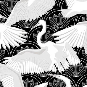 Herons Art Deco-Black White and Gray