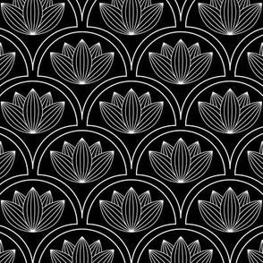 Water Lilies Art Deco-Black White and Gray