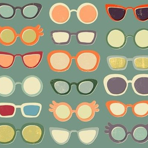 Retro Glasses on Green
