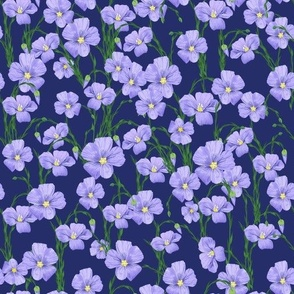 flax flowers fabric design