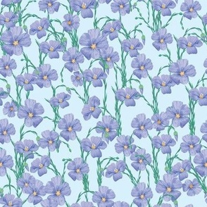 flax flowers pattern light blue3