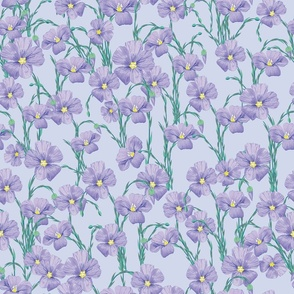 flax flowers pattern light blue