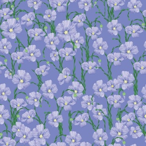 flax flowers pattern blue