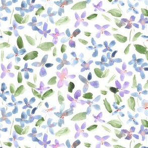 Pastel lilac baby flowers - watercolor small florals for modern home decor bedding nursery
