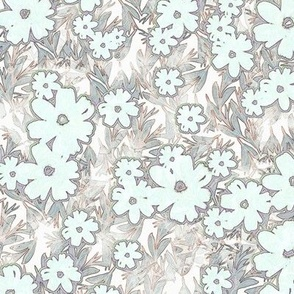 tropical floral blush/gray large scale