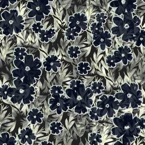 tropical floral midnight  large scale