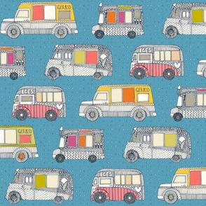 ice cream trucks blue small