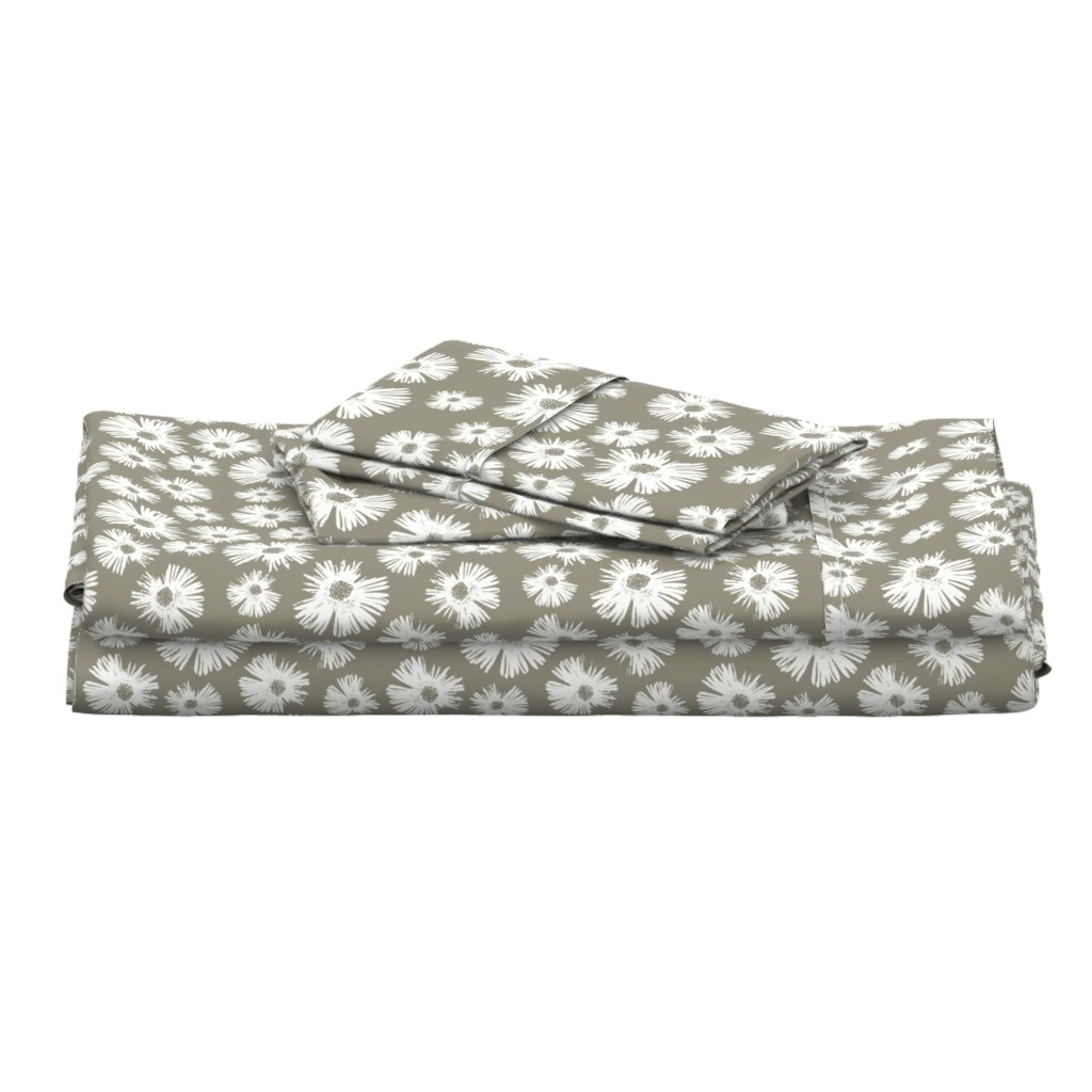 Langshan Full Bed Set featuring Paper Daisy - Sage by kristopher_k