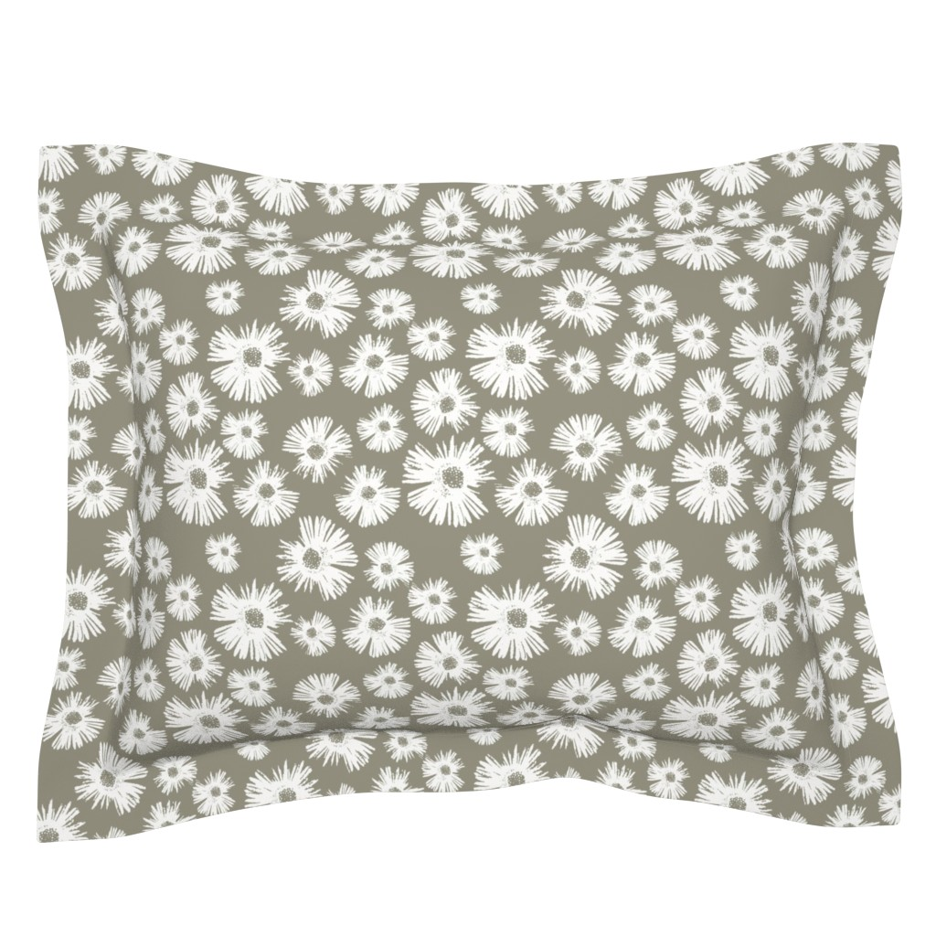 Sebright Pillow Sham featuring Paper Daisy - Sage by kristopher_k