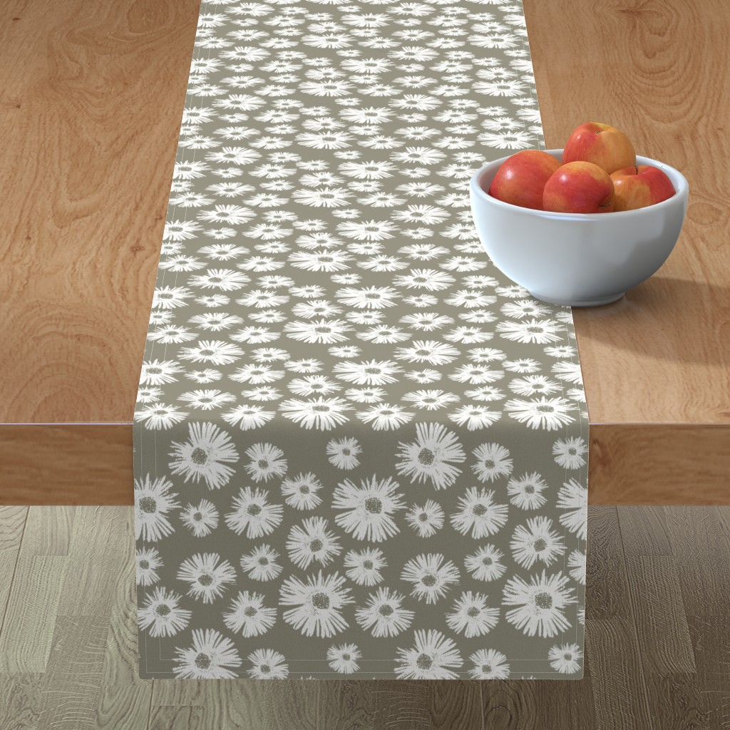 Minorca Table Runner featuring Paper Daisy - Sage by kristopher_k