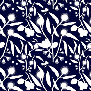 Gum Nuts & Blossoms - white silhouettes on midnight blue, medium