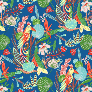 Jungle parrot square repeat_ blue grd
