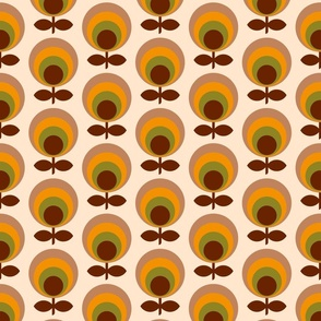 Mid-century circle flowers 70s brown orange Wallpaper Fabric