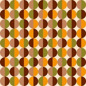 Retro circles grid brown orange 70s Wallpaper Fabric