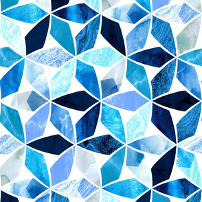 Marble Mosaic Sea Blues (Large Version)