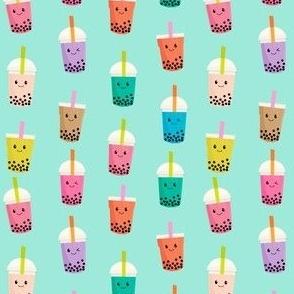 SMALL - Boba Tea fabric - boba fabric, kawaii fabric, cute fabric, food fabric, bubble tea fabric, bubble tea, kawaii food - mint