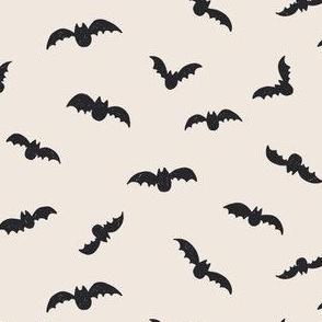 Small // Halloween Black bats on creamy white
