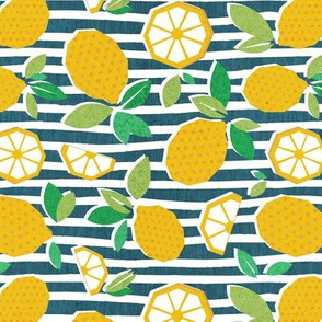 Small scale // Paper cut geo lemons // white and teal stripes on background yellow geometric citrus fruits
