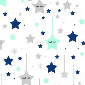 Navy Blue Mint Green Star Baby Nursery
