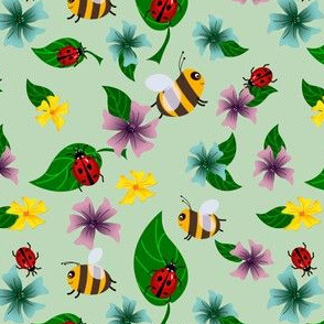 Bees and ladybugs with flowers