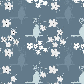 bird in blooms blue