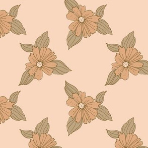 Peachy Pink florals 4.6x4.6