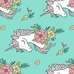 Dreamy Unicorn & Vintage Boho Flowers on Mint Green Rotated