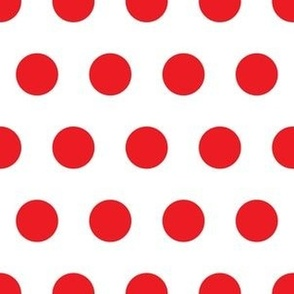 2cm Polka dot White and Red