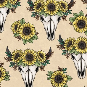 cow skulls with sunflowers