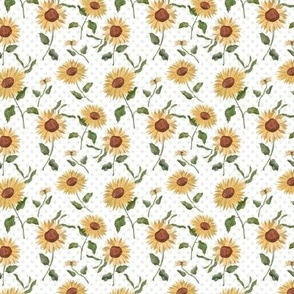 Sunflower Fields with Polka Dot - even smaller - 3inch repeat