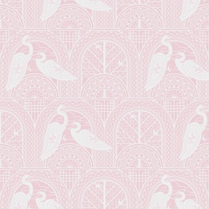 Egrets On The Bridge M Pink