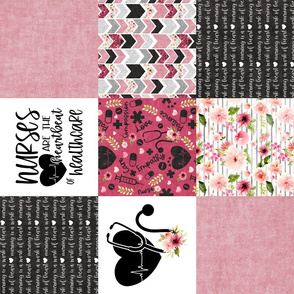 Nurse//Pink - Wholecloth Cheater Quilt - Rotated