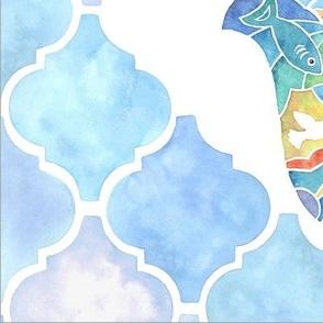 Medium Scale Honeycomb Dancer Mosaic in Warm Yellow Orange