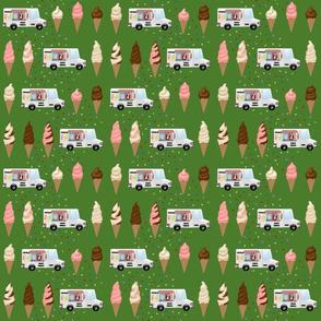 Ice cream trucks and cones on green