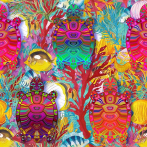 large chameleon psychedelic rainbow tortoise turtle blue turquoise multicolor FLWRHT