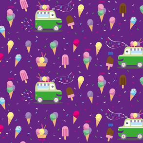 Eating ice cream truck - Get the Special- purple bckg