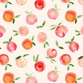 Watercolor peaches on cream - sweet summer fruits