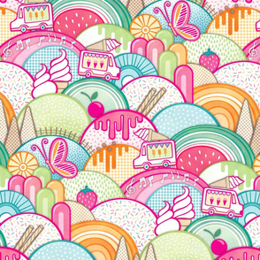 Icecreamland- Summer Sprinkles Ice Cream-  Cherry- Strawberry- Watermelon- Popsicle- Pink