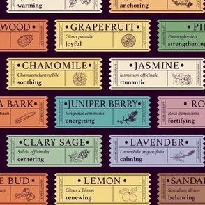 Aromatherapy Essential Oil Labels | Dark