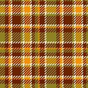 70s Plaid Tartan moss green, mustard yellow, brown Retro Wallpaper Fabric