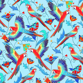 Gold Enamel Red Macaws - Baby Blue (Large Version)