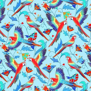Gold Enamel Red Macaws - Baby Blue ( Small Version )