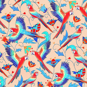 Gold Enamel Red Macaws - Beige (Large Version)