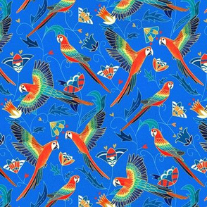 Gold Enamel Red Macaws - Cobalt Blue (Small Version)