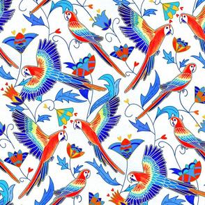 Gold Enamel Red Macaws - White (Large Version)
