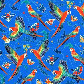 Gold Enamel Red Macaws - Cobalt Blue (Large Version)