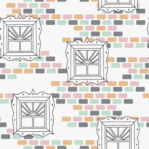 Glass Windows on Colorful Pastel Bricks seamless pattern background.
