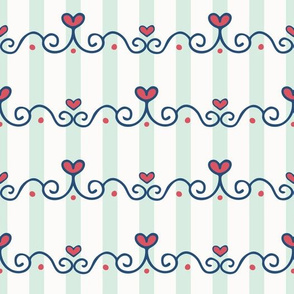 Hand Drawn Cute Heart Chain Border on Stripes seamless pattern background.