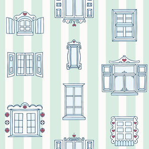 Hand Drawn Old Town Windows on Stripes seamless pattern background.
